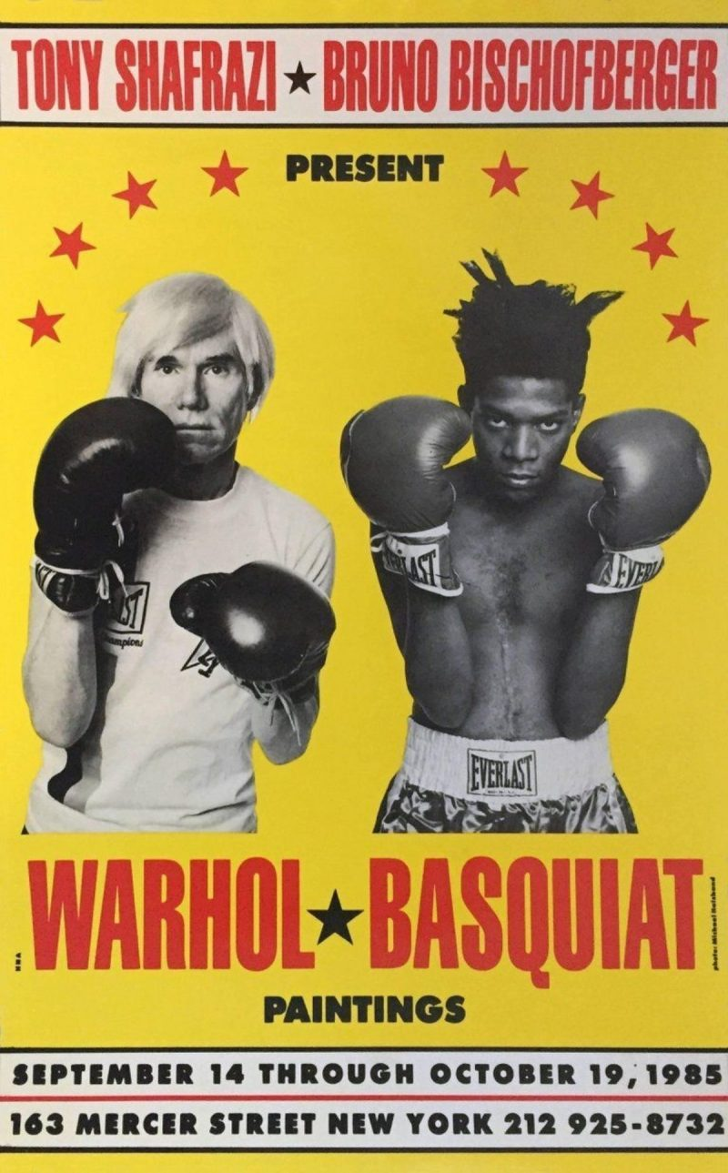 photographic image of warhol and basquiat boxing