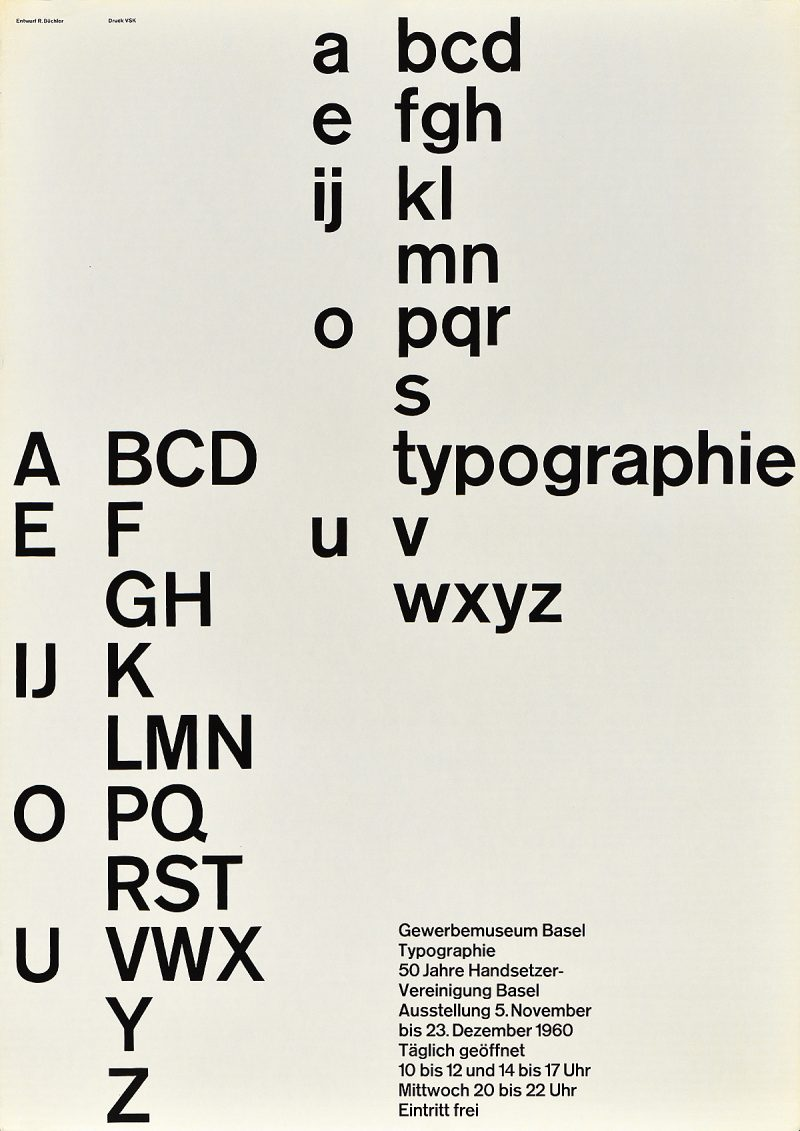type-based poster of the alphabet running down the page vertically