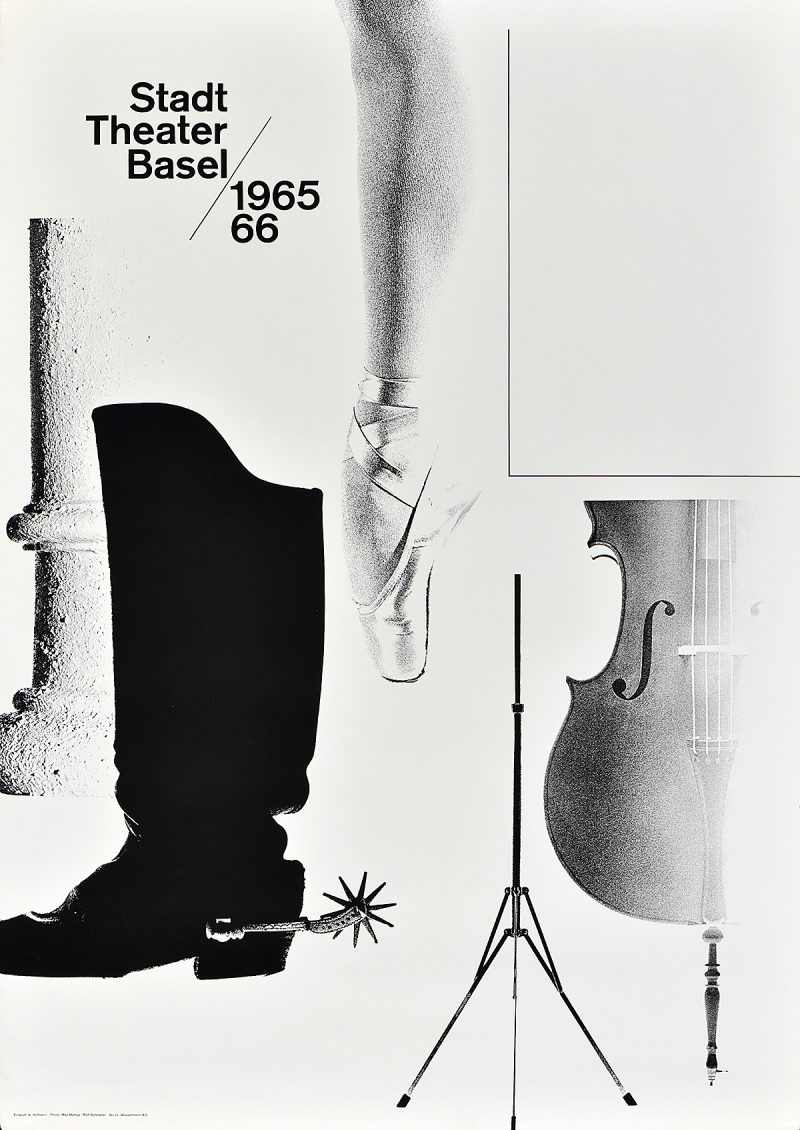 black and white photomontage poster of a boot, cello, ballet slipper, and stone pillar