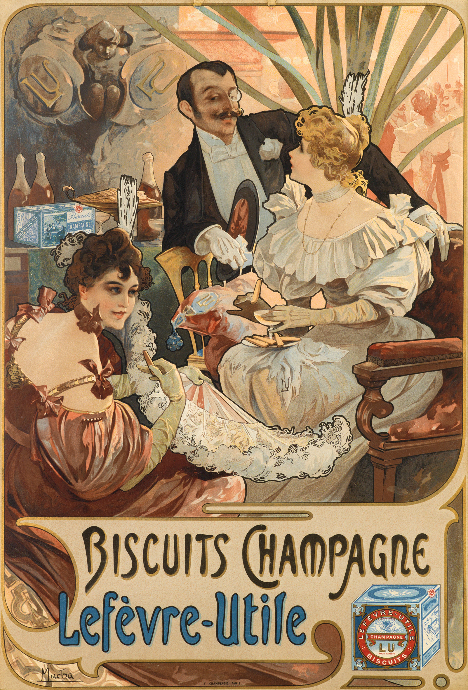 illustrational poster of a man and two women lounging while having drinks and biscuits
