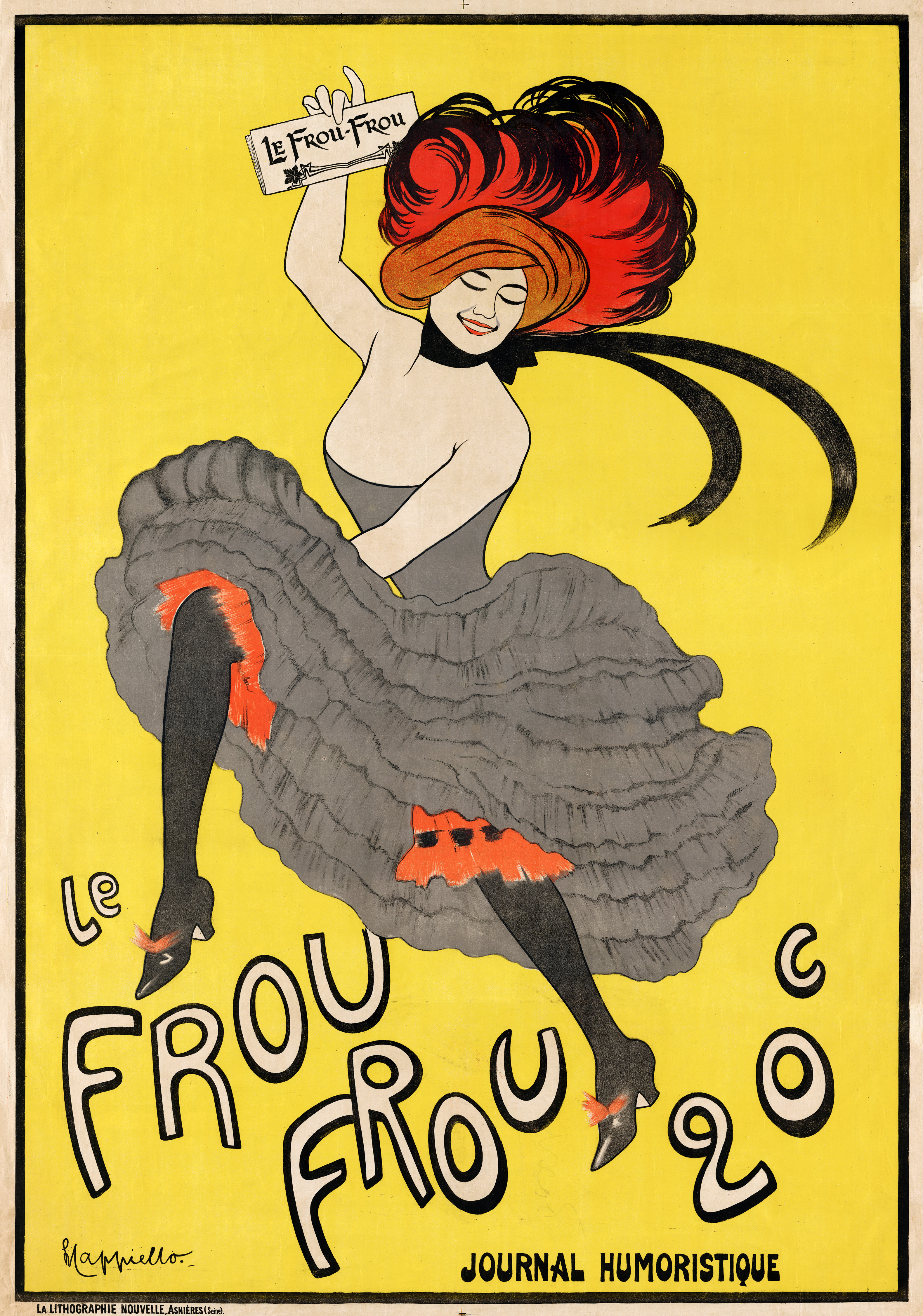 illustrational poster of a woman with red hair in a grey dress dancing against a yellow background