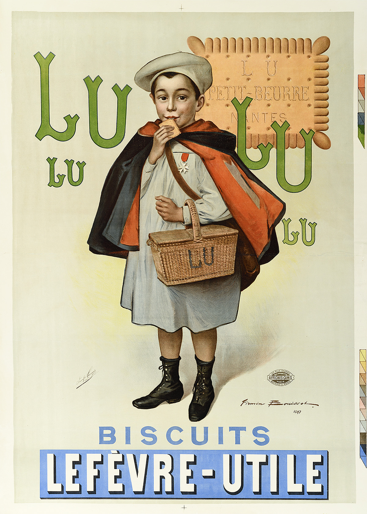 illustrational poster of a schoolboy holding a basket and eating a biscuit