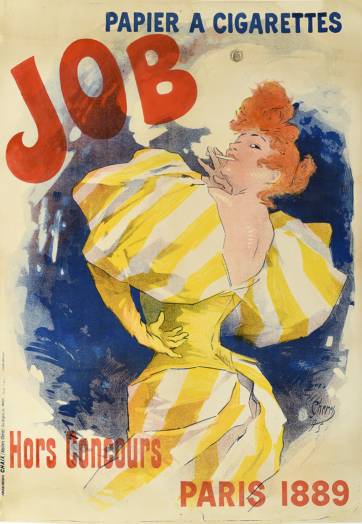 illustrational poster of a woman with red hair in a yellow dress looking over her shoulder as she smokes a cigarette