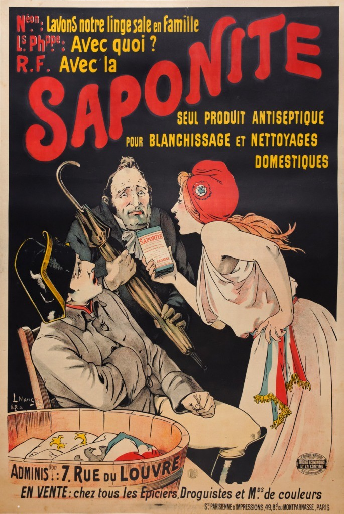 illustrational poster of a woman holding a small box up to a man's face