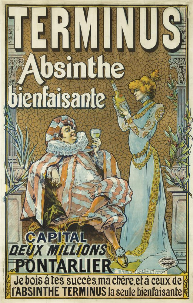 illustrational poster of an elegantly dressed man and woman having a bottle of absinthe