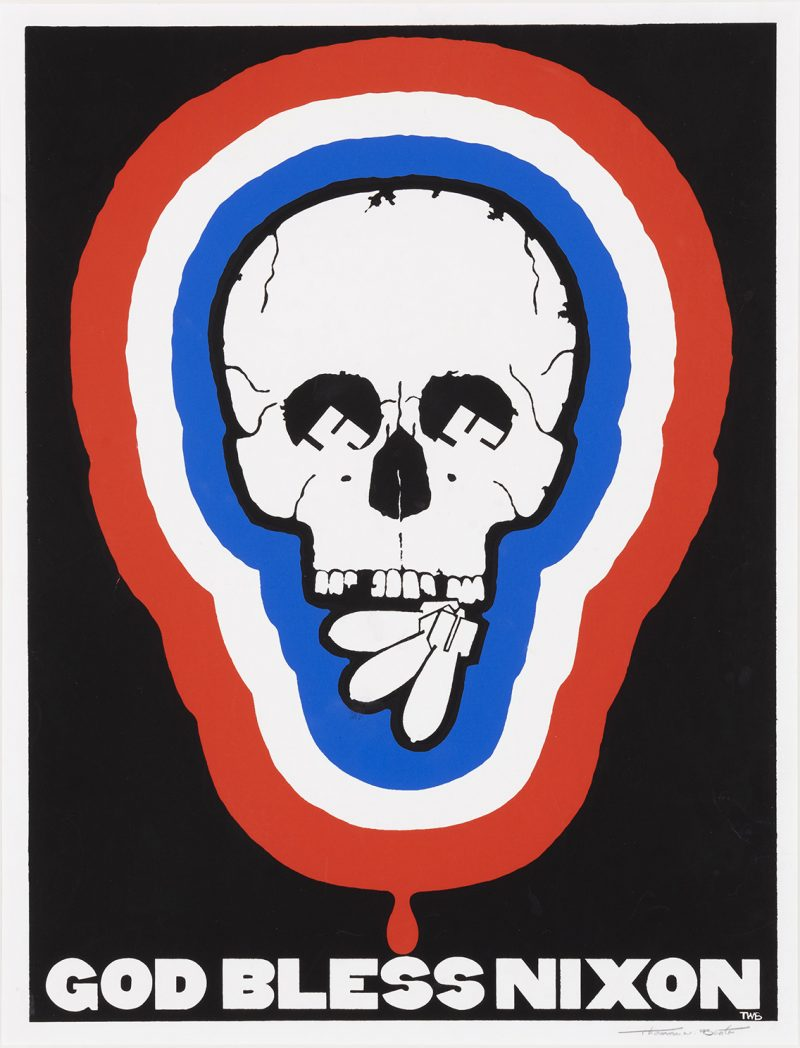 silkscreen poster of a skull surrounded by red white and blue stripes