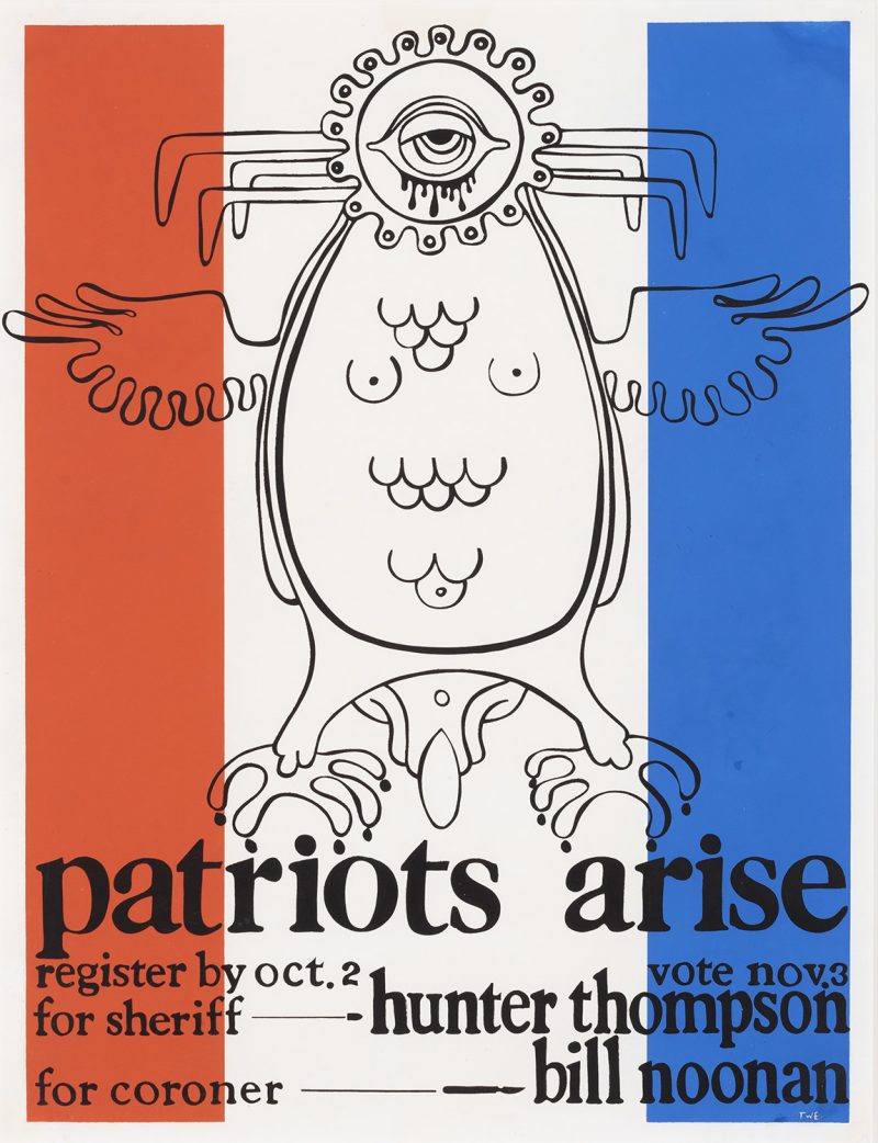 silkscreen poster of a bird monster on top of red white and blue stripes