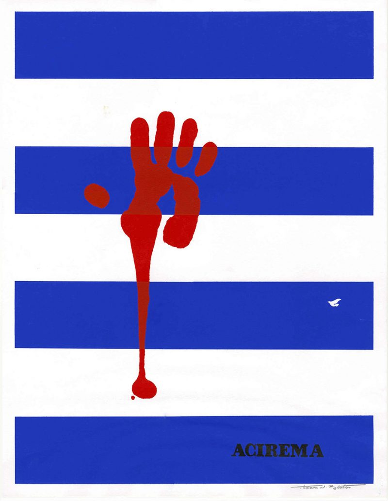 silkscreen poster of blue and white horizontal stripes with a bloody red handprint on top