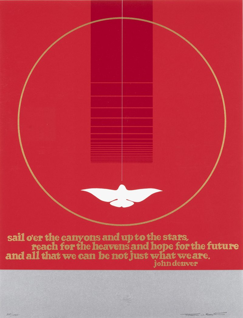 silkscreen poster of a red background with a skinny white circle outline. inside the circle a dove flies upward toward a darker red stripe