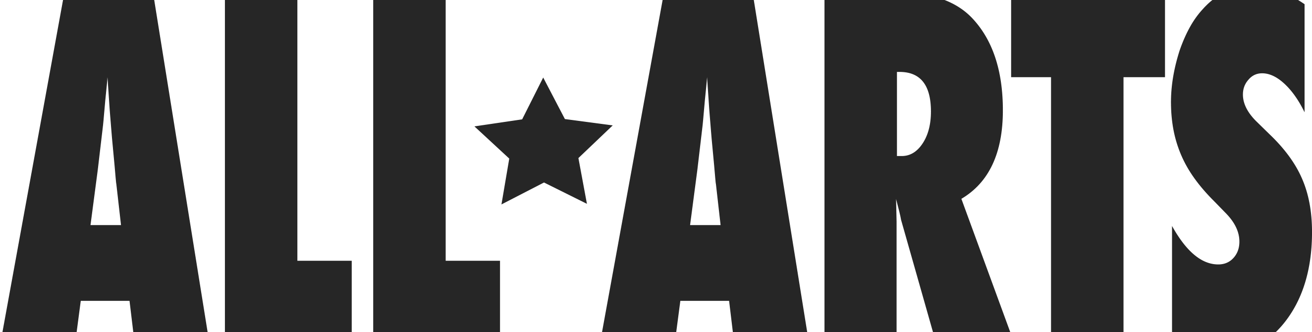 """A logo for """"All Arts"""". A small star separate the two, upper-case words."""
