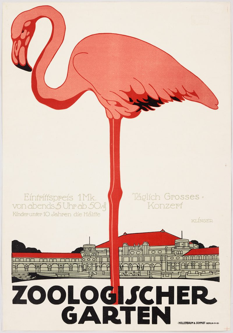 lithographic poster of a giant pink flamingo with a small governmental building on the horizon