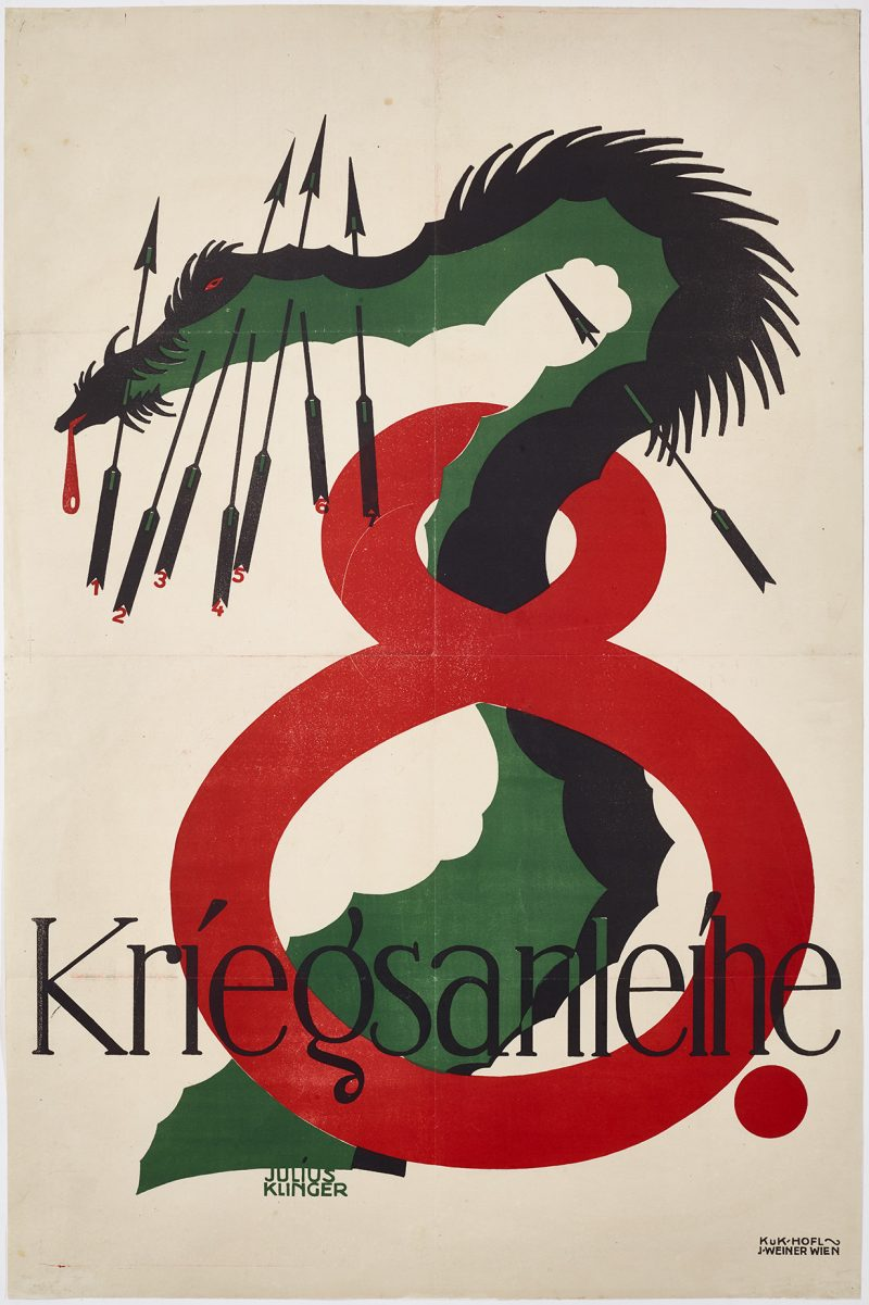 lithographic image of a giant snake slithering through a giant red number 8
