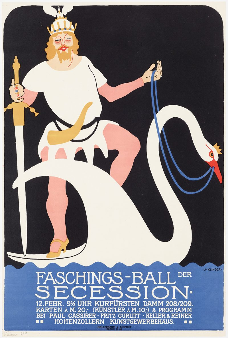 lithographic image of a viking in high heels riding a swan