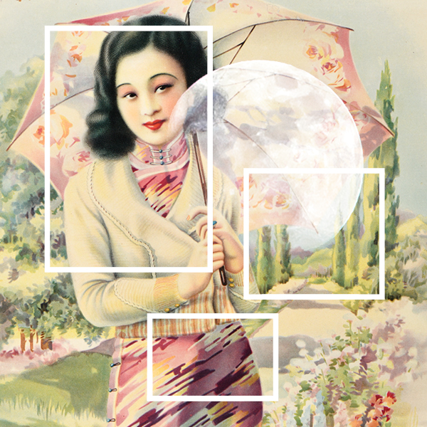 Poster of a woman holding a sun umbrella in park with trees behind her and a moon and squares imposed on the image in white