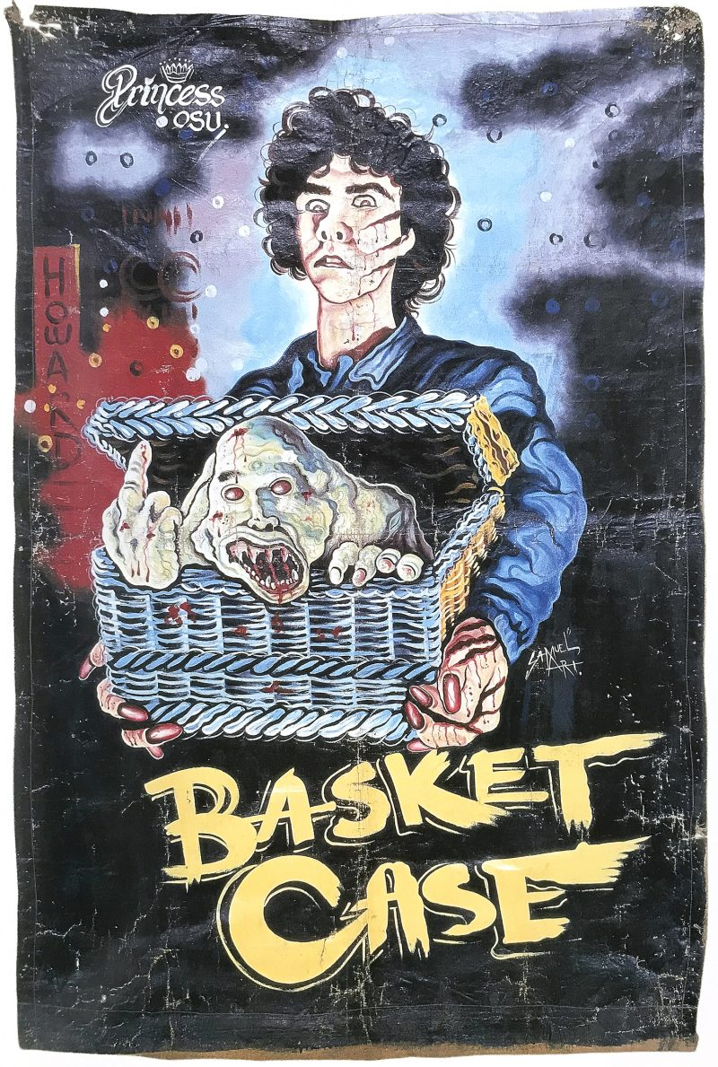 hand-painted poster of a man with short curly hair holding a chest with a creature inside