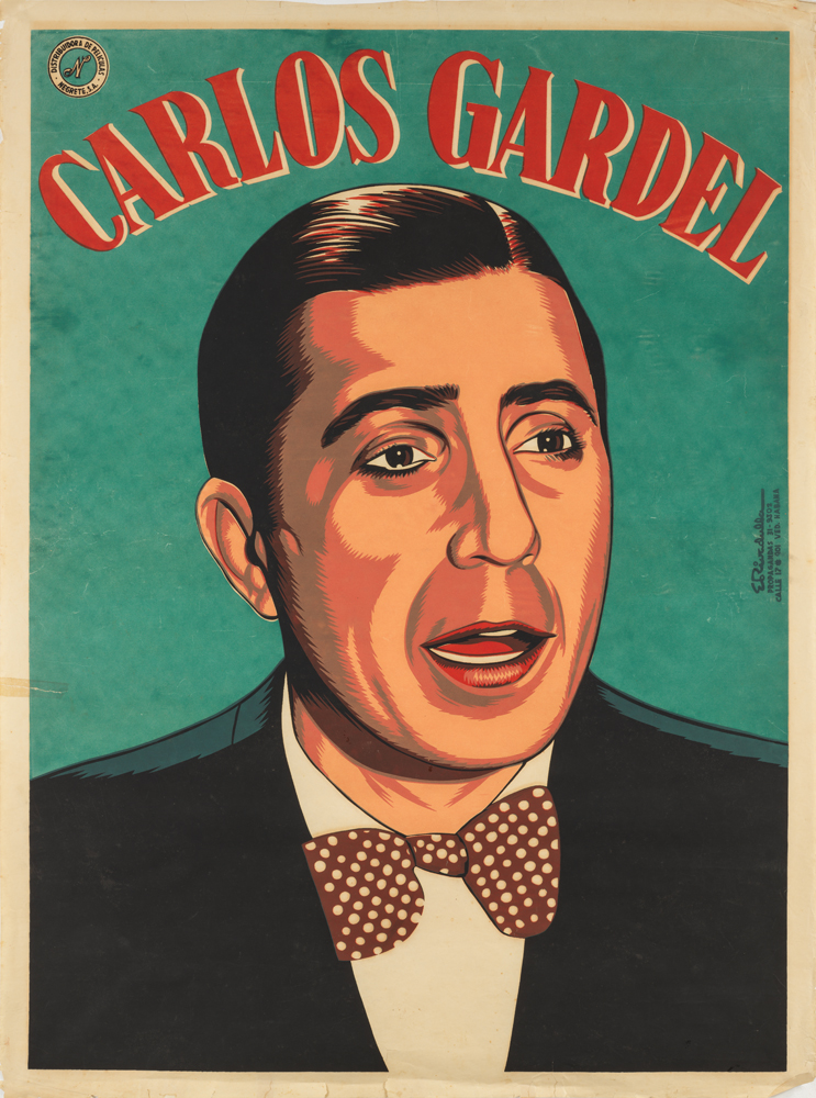 illustrational poster of a man with a hair part wearing a suit and bowtie and his mouth open in mid-speech