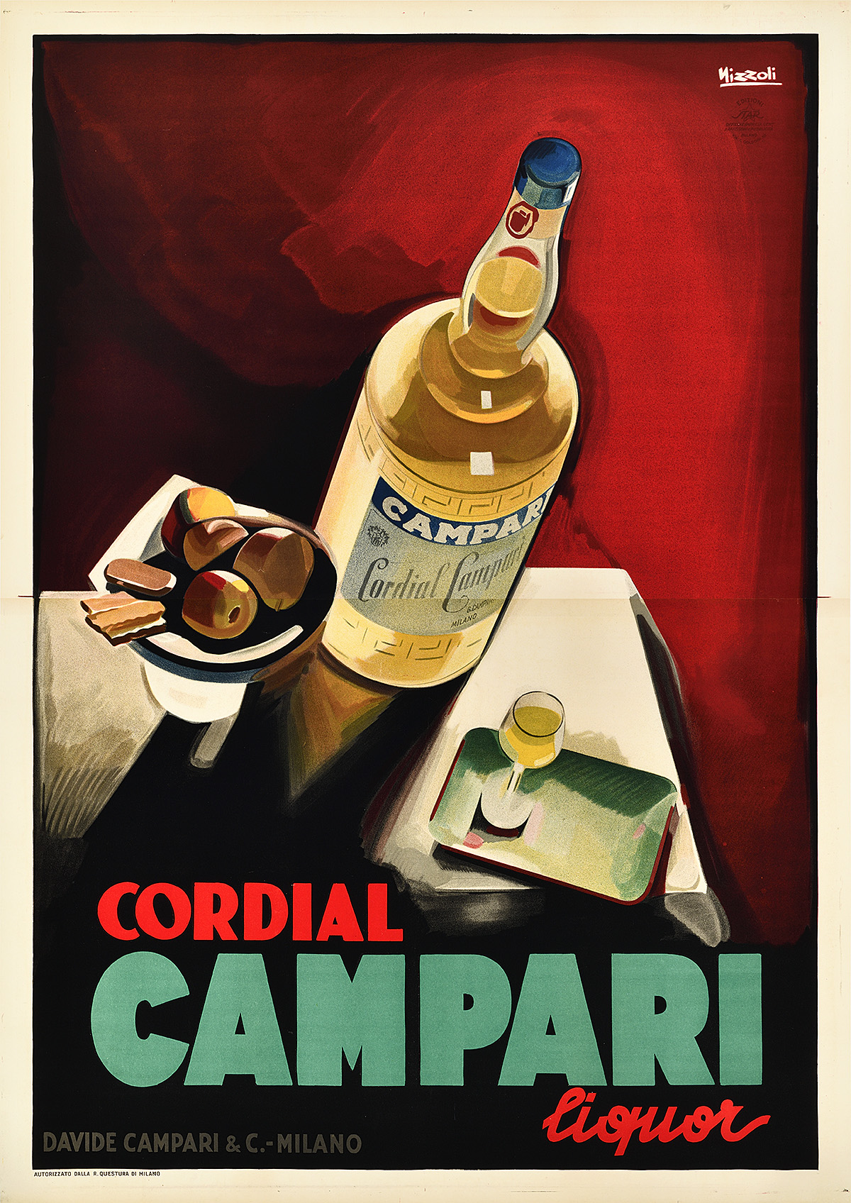 illustrational poster of an overhead view of a bottle of Campari, a wine glass, and a small plate of appetizers