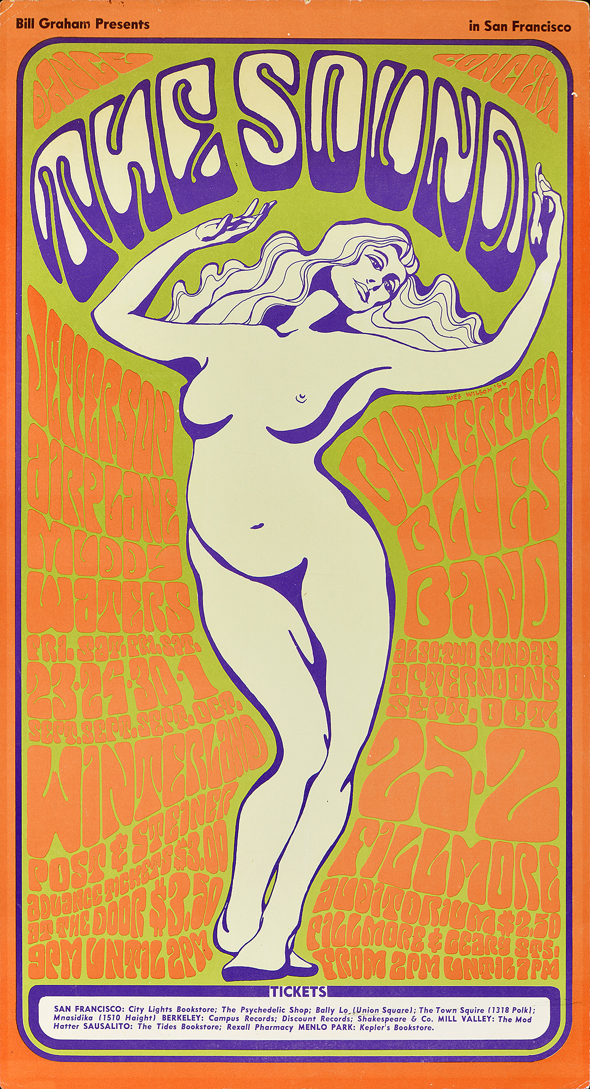 illustrational poster of a nude woman with long hair holding up the words