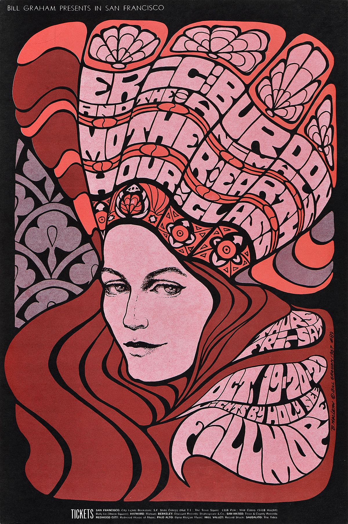 illustrational psychedelic inspired poster of a woman with flowing hair and an oversized crown filled with words