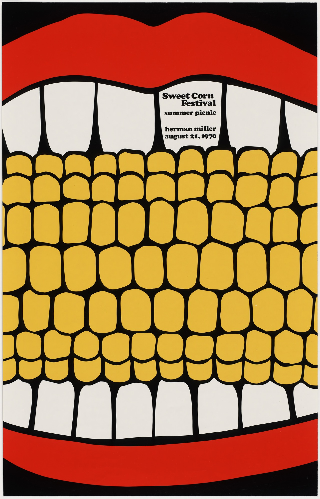 illustrational poster of a mouth with red lipstick eating a corncob
