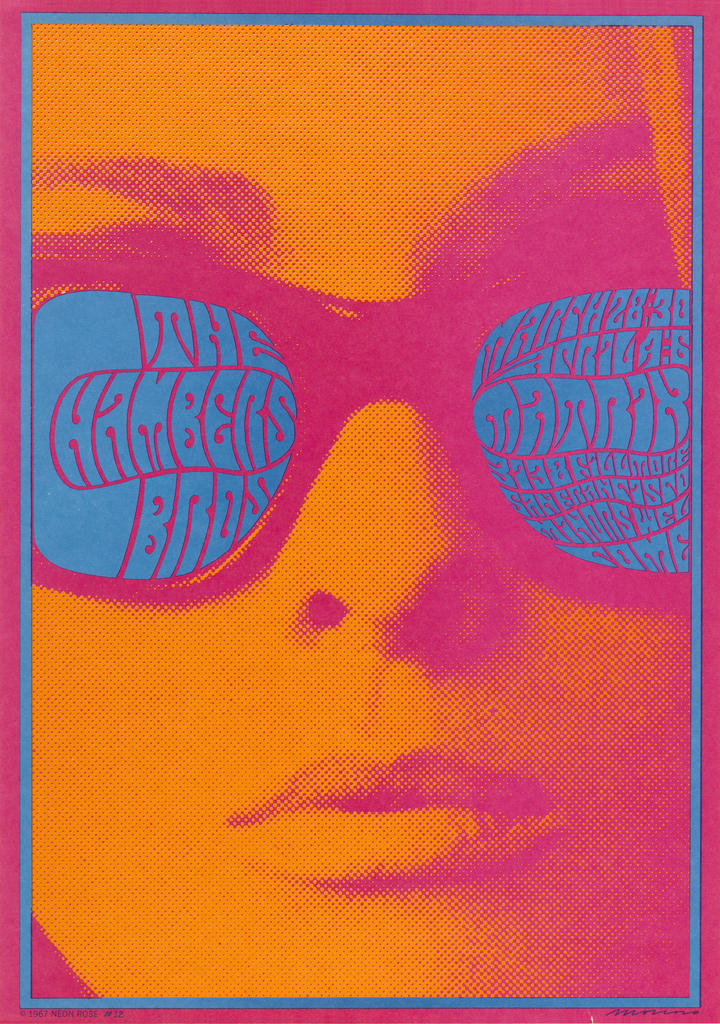 graphic poster tinted orange of a woman wearing glasses filled with blue psychedelic inspired text