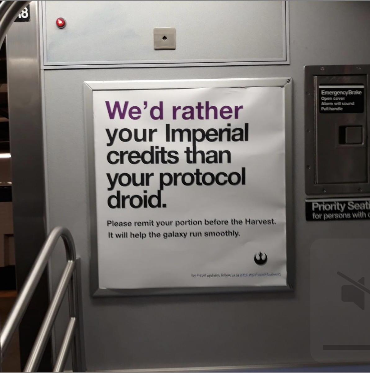 type-based poster inside an MTA subway cart titled