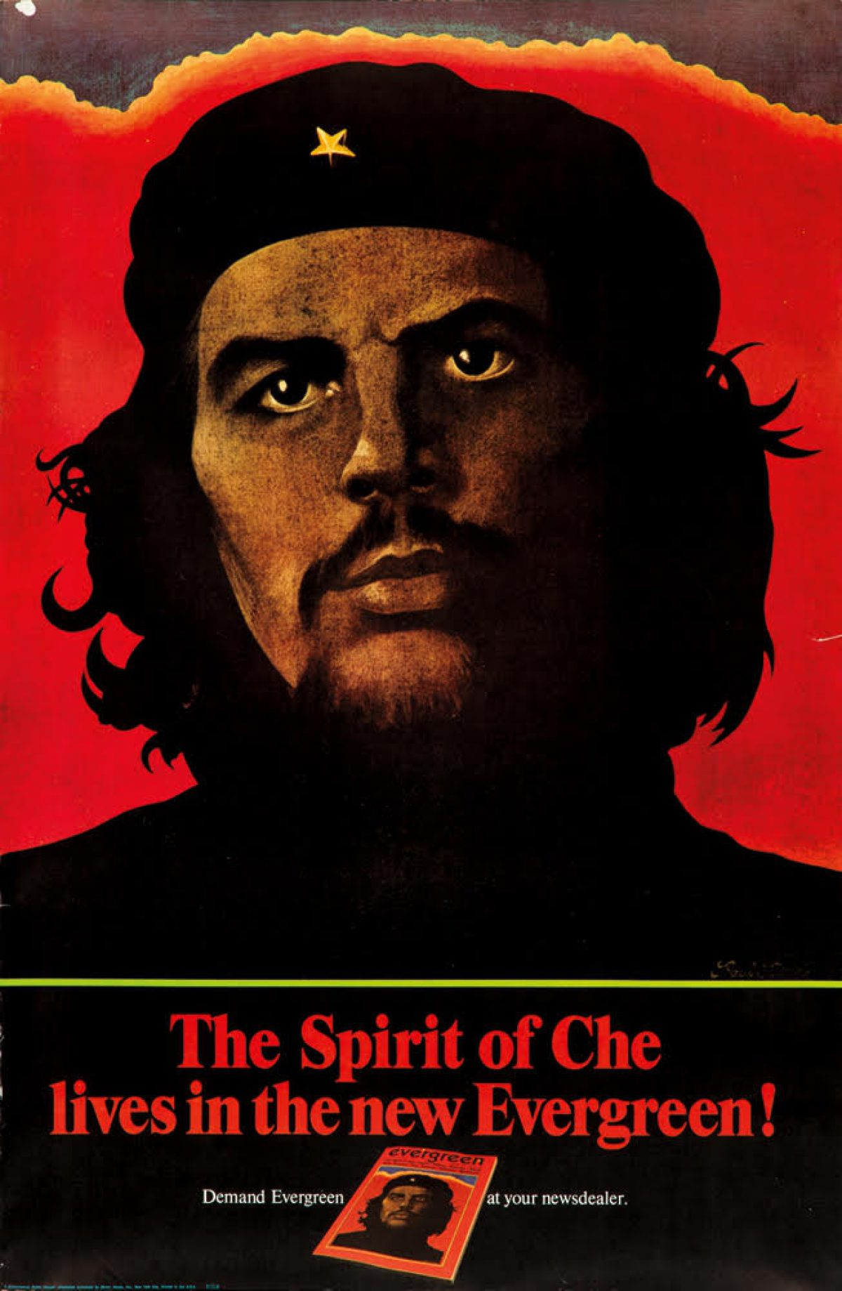 illustrational poster of Che Guevara looking off into the distance