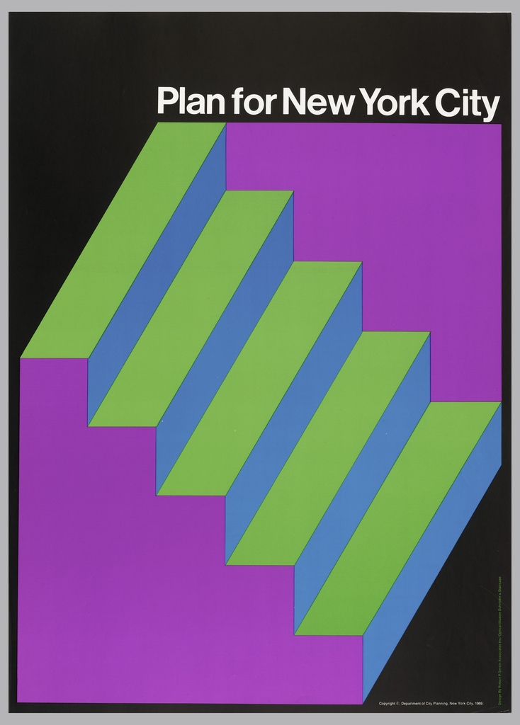 illustrational poster of green and purple steps on a black background