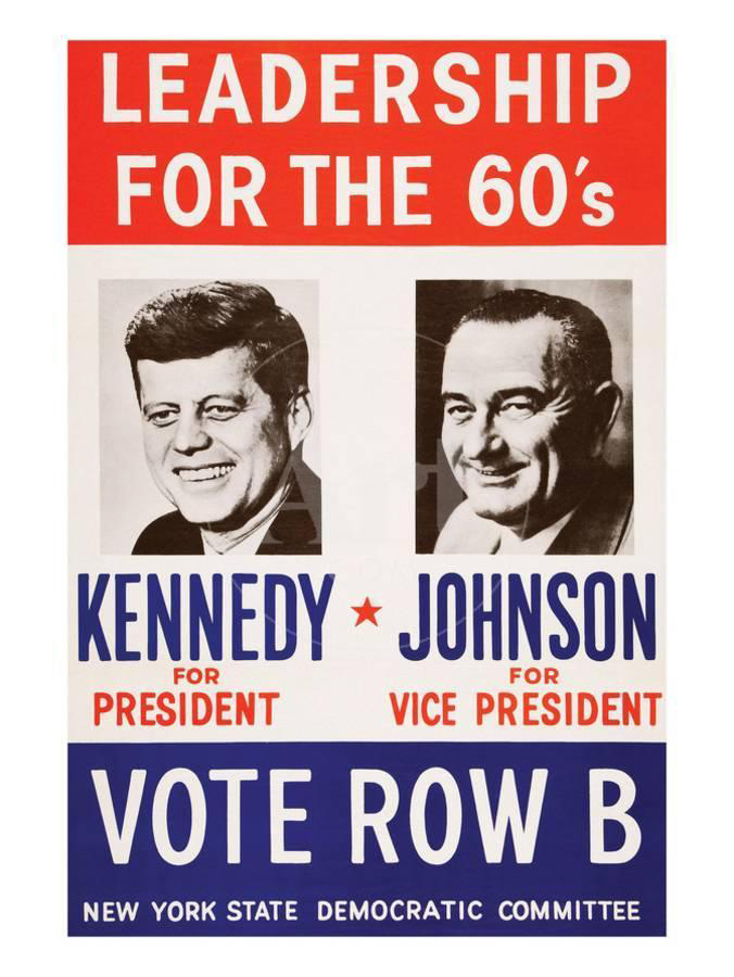 poster depicting John F. Kennedy and Lyndon B. Johnson and titled Leadership for the 60's