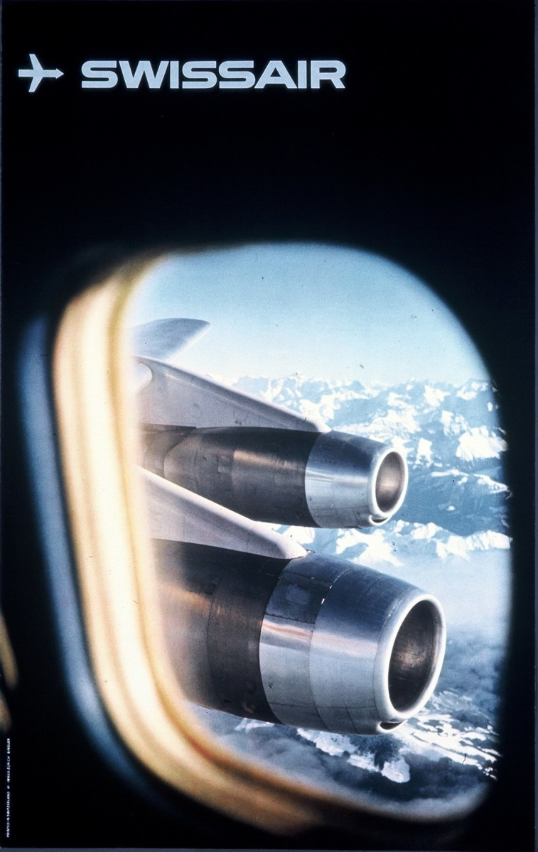 poster for Swissair with an image of an airplane's wing engines when looking out a window