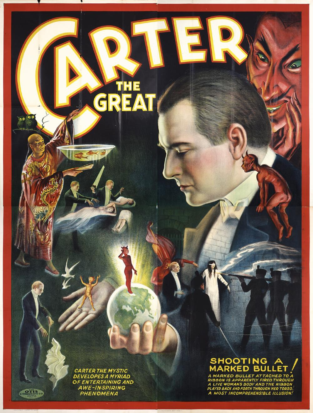 illustrational poster of a suited man holding a crystal ball that resembles Earth