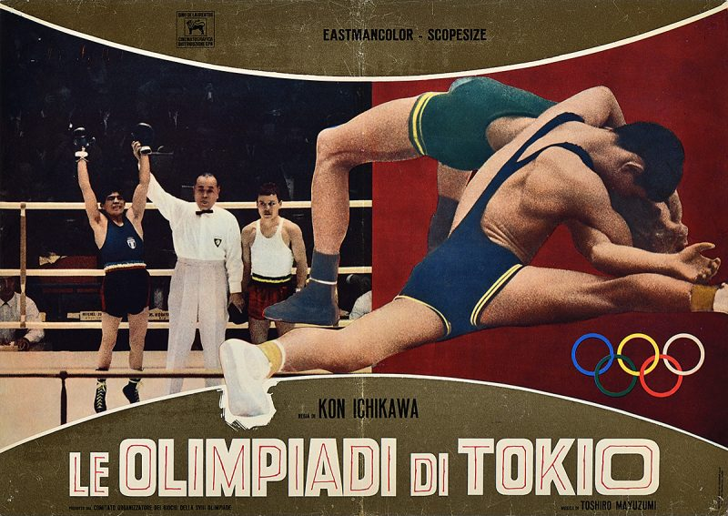 photomontage poster of two men wrestling beside the image of a man winning a boxing match against another boxer