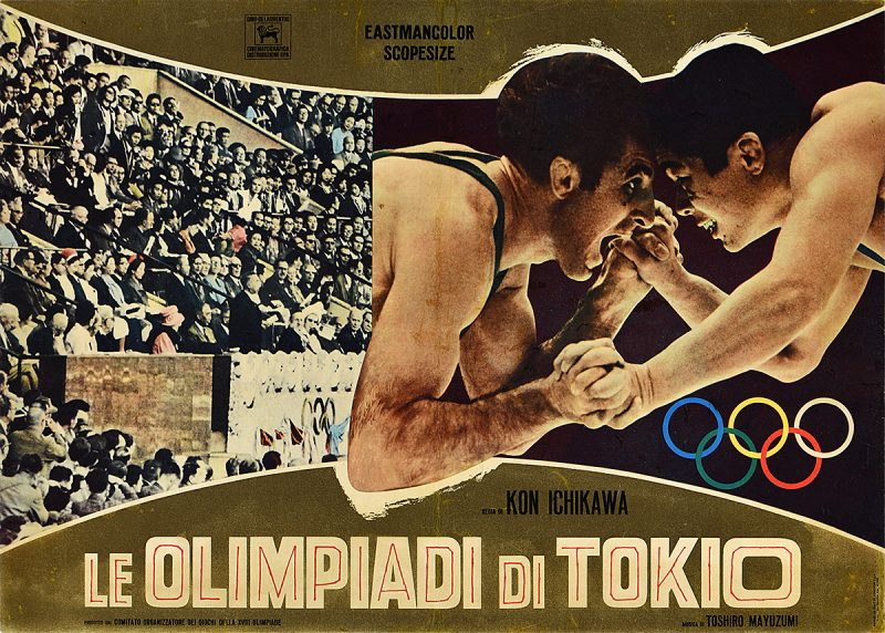photomontage poster of two men wresting beside another image of the audience