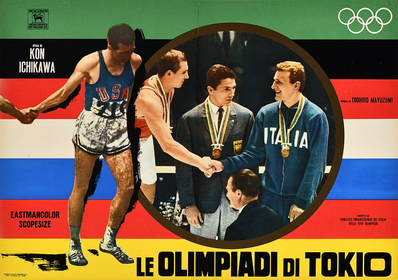 photomontage poster of an athlete standing beside the image of two olympic champions shaking hands