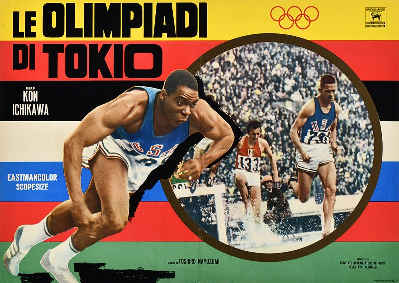 photomontage poster of a man running track beside the image of other track runners
