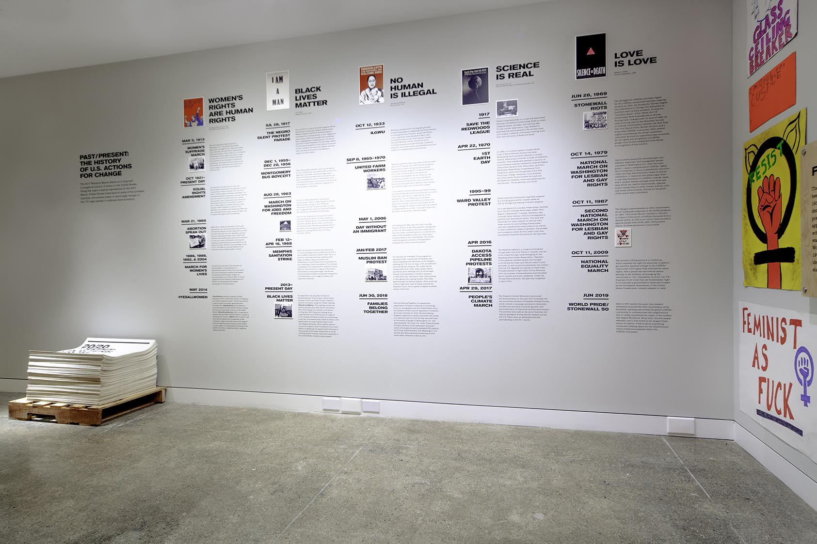 photograph of a wall timeline from the Women's March exhibition