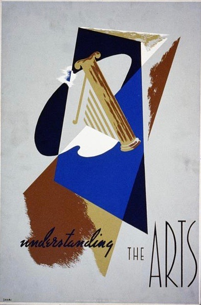 illustrational poster with abstract shapes colored shades of blue and brown