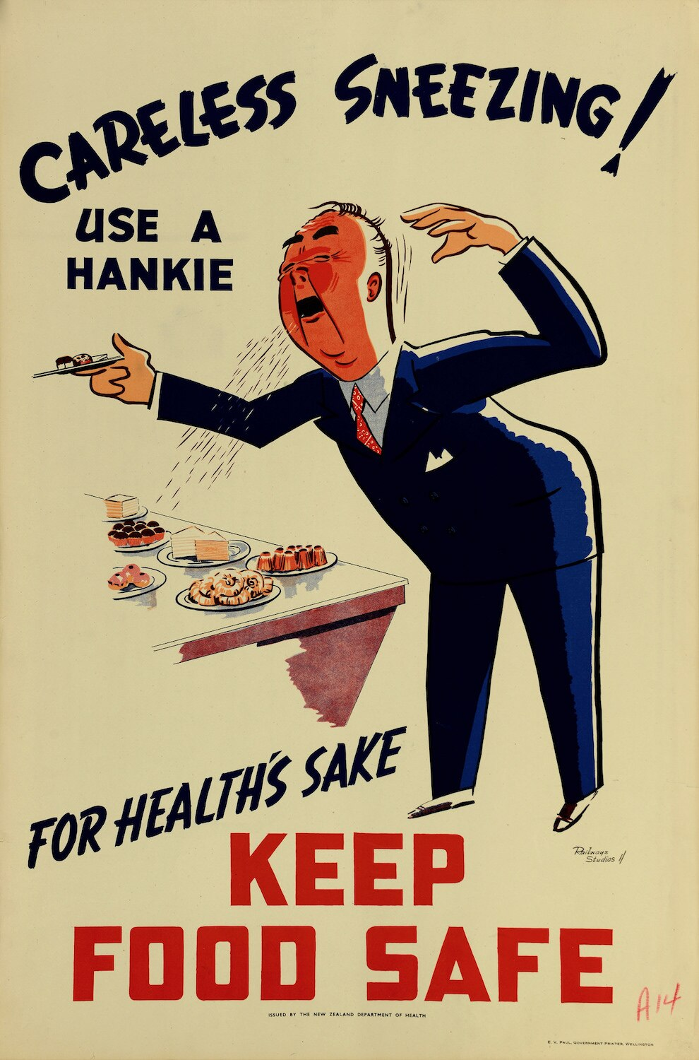illustrational poster of a man sneezing over a table and onto plates of food