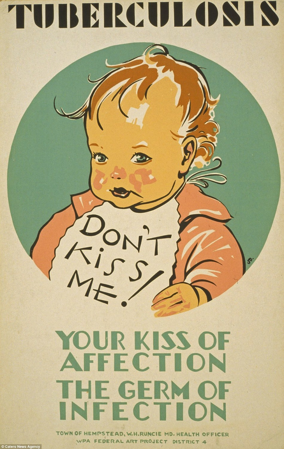 illustrational poster of a baby wearing a bib that says don't kiss me