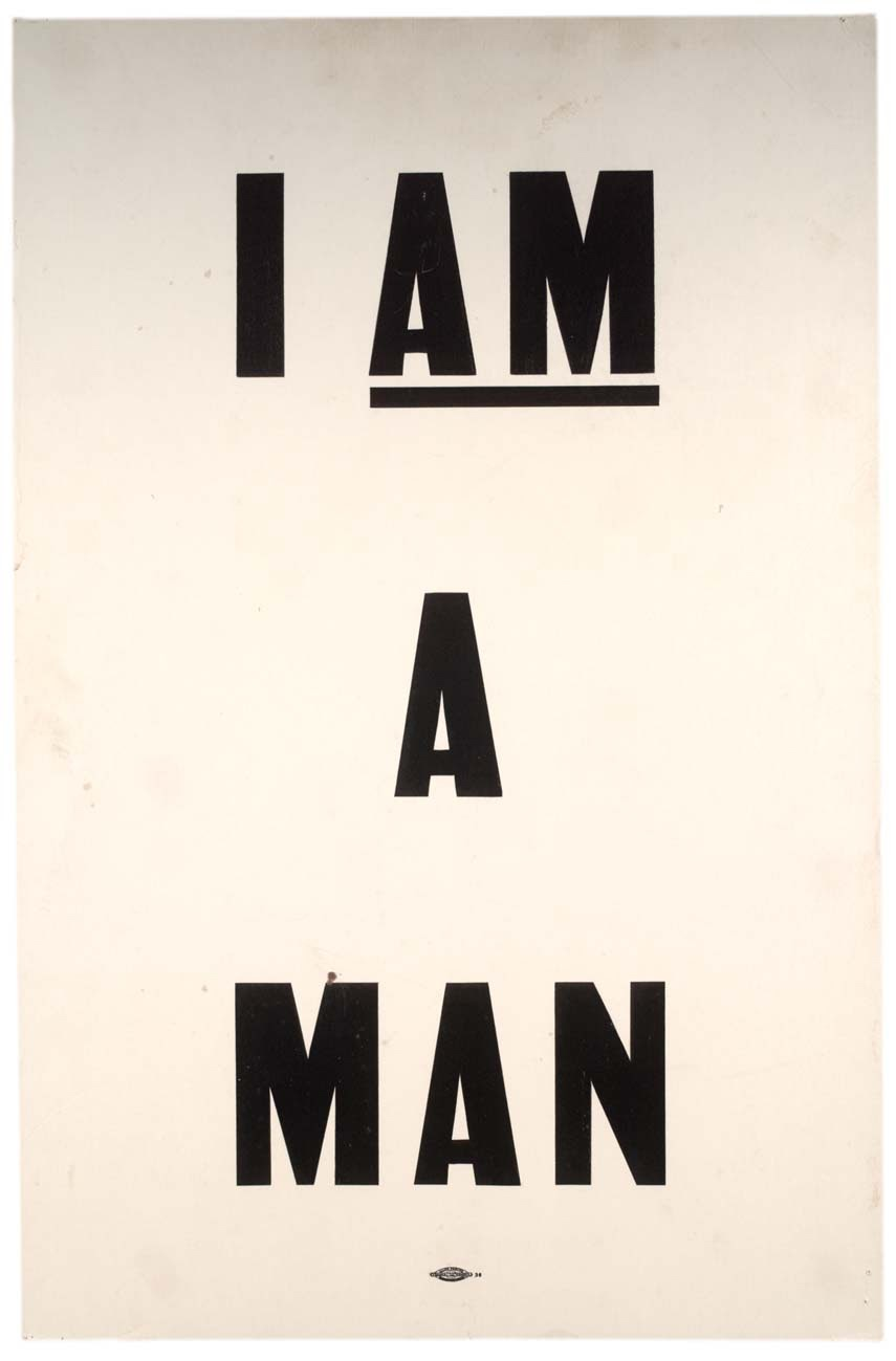 type-based poster with the text I AM A MAN on a white background