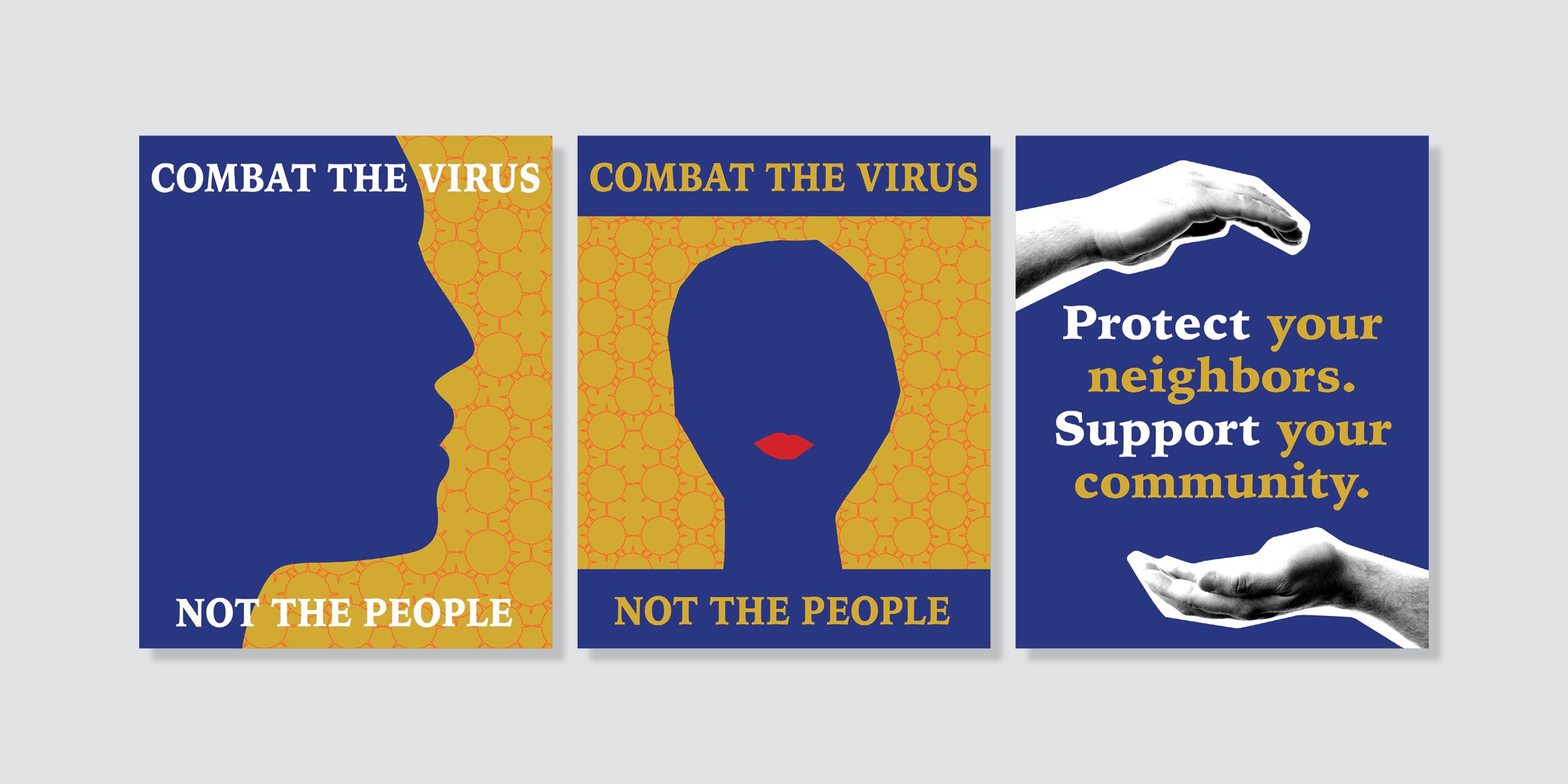 three graphic PSA posters on combating Covid placed side by side