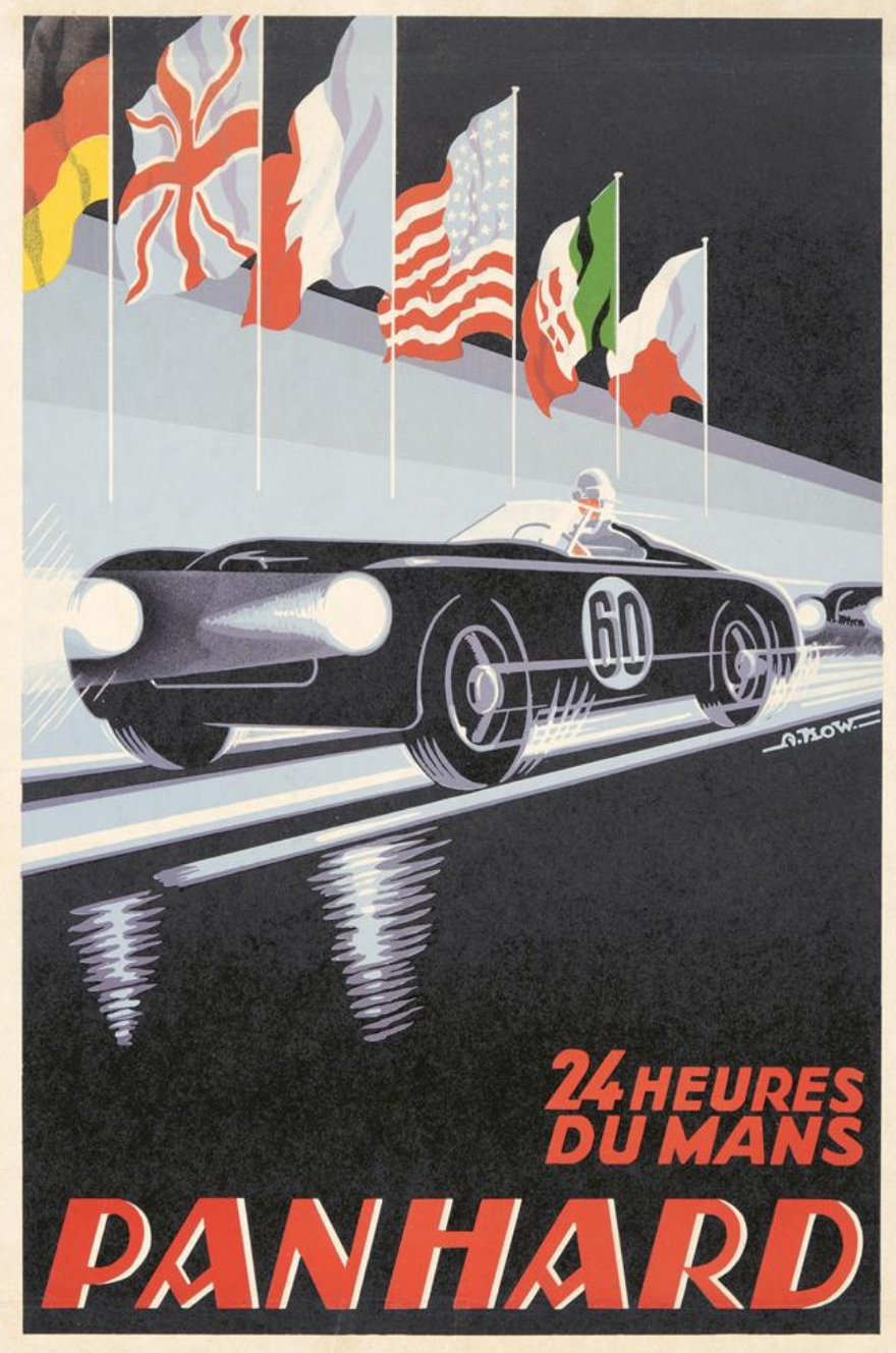 illustrational poster of a sports car zooming down a race track at night