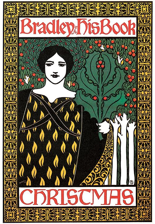 illustration poster of a woman holding a giant mistletoe leaf in one hand surrounded by a highly decorative border