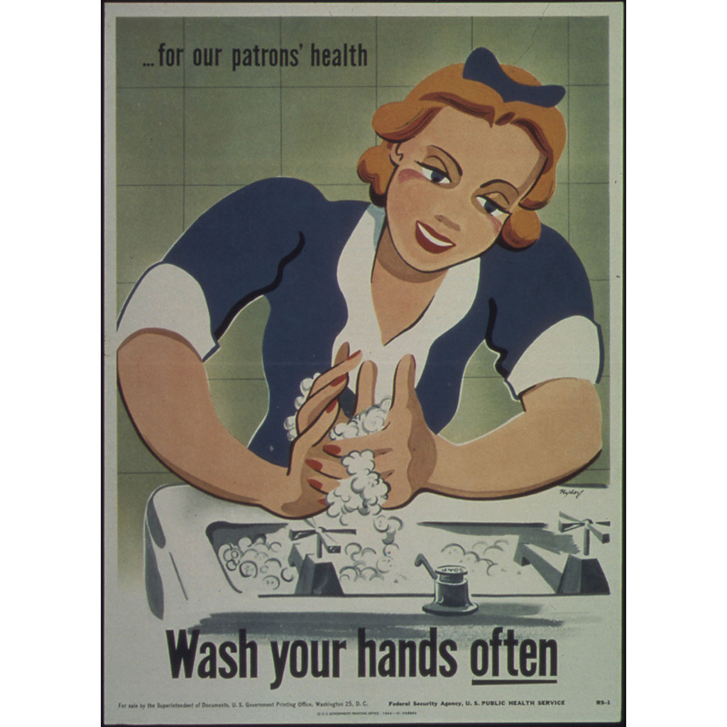 illustrational poster of a woman washing her hands over a sink