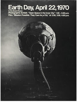 black and white poster of planet earth wearing a gas mask