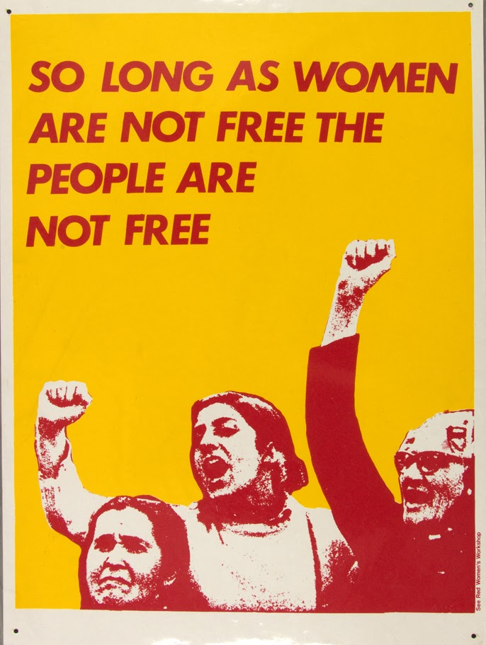photomontage poster of a women raising their fists along with the text so long as woman are not free the people are not free