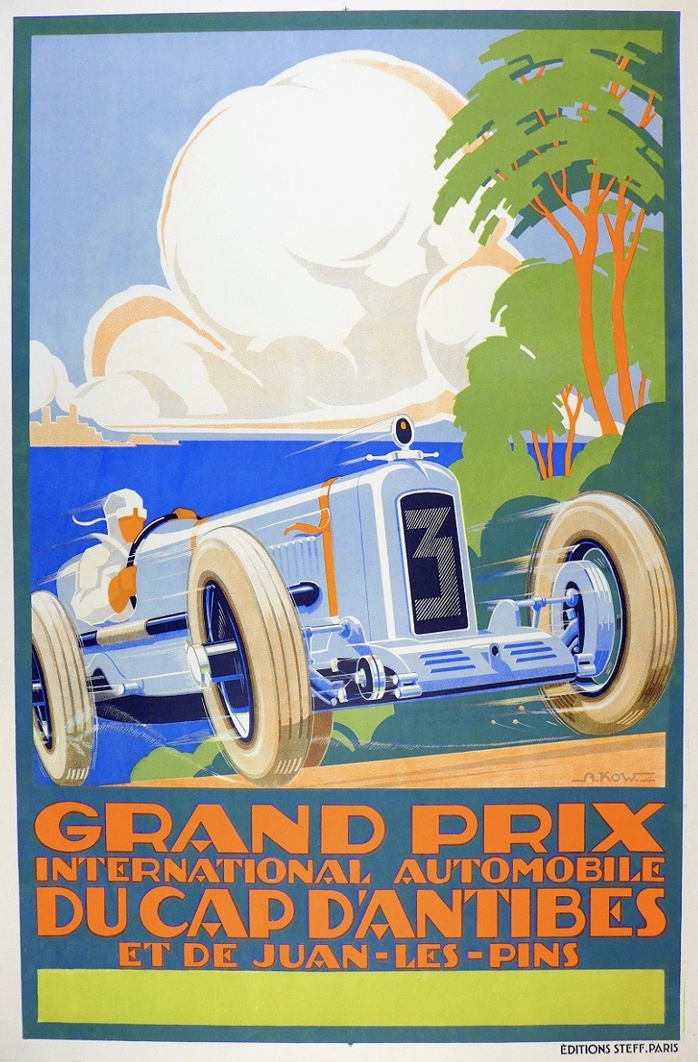 illustrational poster of a man driving a classic car up a hill