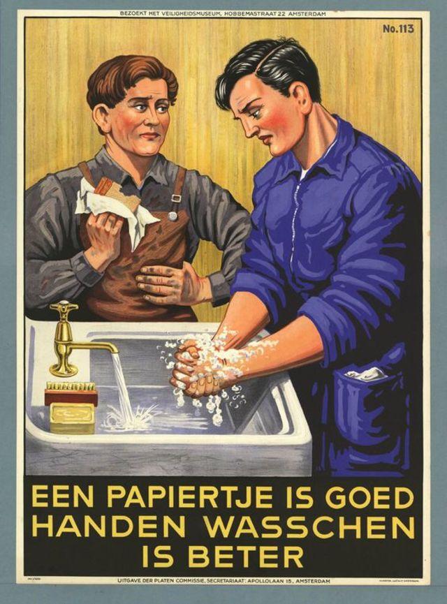 illustrational poster of two men around a sink washing their hands and eating with handkerchiefs