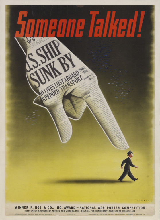 illustrative poster of an oversized hand pointing down at a miniature walking man