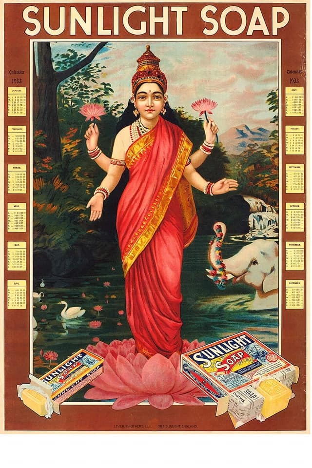 illustrational poster of an Indian deity that is advertising soap